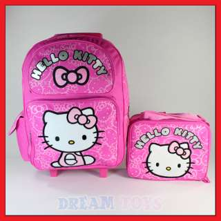Hello Kitty 16 Pink Glitter Backpack and Lunch Bag Set   Roller LARGE