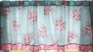 Country Cottage Victoria Chic Rose Ruffled curtain valance |