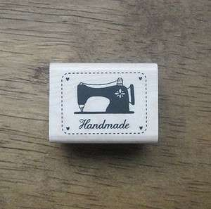 Decorative Stamps Rubber Stamp_Handmade Label sewing machine black