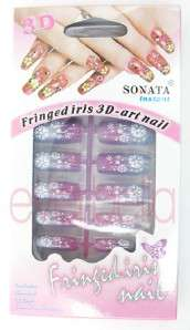 12x Pre design Acrylic False Nail Tips w/ FREE GLUE 1