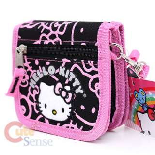 Sanrio Hello Kitty Shoulder Strap Wallet  Black Pink Glittering Face
