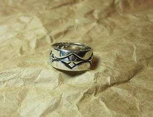 925 Sterling Silver Decorative Wide Band RING SZ 8 Celtic Tribal