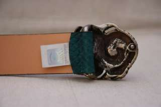 JUST CAVALLI $215 green SNAKE SKIN LEATHER BELT silver buckle, NEW, Sz