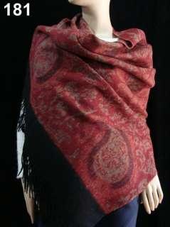 Sale new soft 4 ply Womens Jacquard warm 100% Cashmere Shawl Wrap red