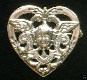 Sterling silver HEART with CHERUB angel PIN BROOCH