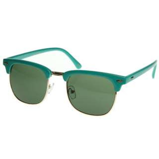 Retro Bright Multi Color Half Frame Clubmaster Style Shades Sunglasses