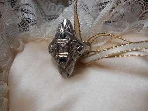 VICTORIAN 18K WHITE GOLD FILIGREE GENUINE DIAMOND RING