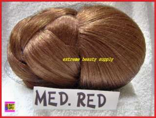 MED RED hair dome piece bun chignon wiglet clamp comb