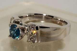 4000 .84CT ROUND CUT BLUE DIAMOND ENGAGEMENT RING VVS SIZE 7