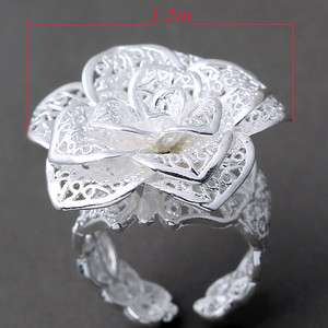 Silver Plated White Carved Big Flower Adjustable Ring