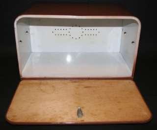 metal aluminum brown enamel bread box storage wood cutting board door