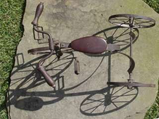 Antique Tricycle With Leather Seat, Wooden Handles & Metal Wheels