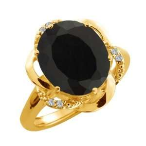 4.14 Ct Oval Black Onyx and Topaz Gold Plated Argentium