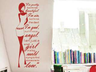 Vinyl Wall Decor Mural MARILYN MONROE Quote Decal * GIRL * LOVE