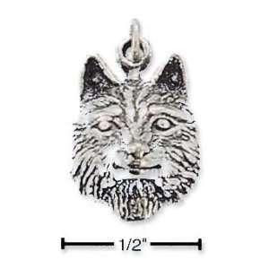 Sterling Silver Wolf Head Charm   JewelryWeb Jewelry