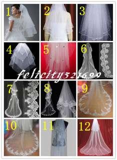 NEW 12 Styles White/Ivory Wedding Veils Bridal Cathedral Veil Free