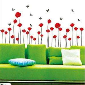 Flower 5 Butterfly Art Mural Wall Vinyl Sticker Wall Decal Fashion