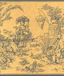 WAVERLY COUNTRY TOILE WALLPAPER BORDER 5500294
