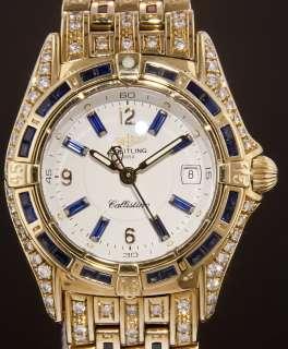 Breitling Callistino 18k Yellow Gold with Blue Sapphires & Diamonds