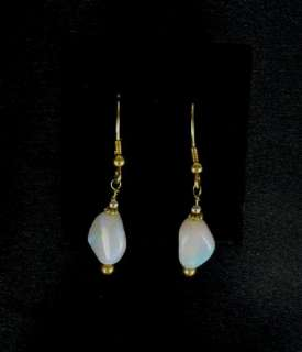 EXQUISITE 18K GOLD WHITE CRYSTAL OPAL EARRINGS~