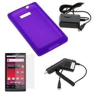 GTMax Purple Soft Silicone Skin Cover Case + Car Charger + Home Travel