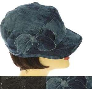 Ladies BLUE DENIM BOW CADET BASEBALL CAP VISOR HAT