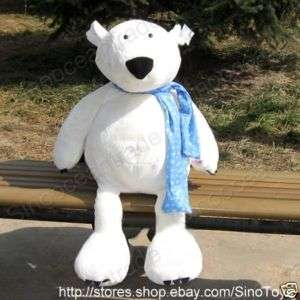 WHITE POLAR BEAR w BLUE SCARF LARGE PLUSH TOY GIANT 31