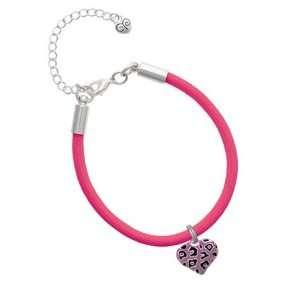 Purple Cheetah Print Heart Charm on a Hot Pink Malibu