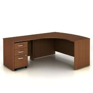 Warm Oak Bow Front LDesk with Left Return Warm Oak Office
