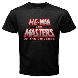 Custom He Man Retro Cartoon Series logo Black T shirt