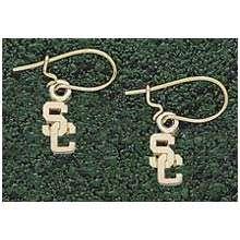 Logo Art USC Trojans 10K Gold Team Font 7/16 Dangle Earrings