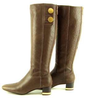BURCH RAMSEY Brown Leather Gold Buttons Womens Shoes Knee High Boots 9
