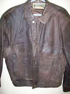 Vintage Mens Brown Leather Bomber Coat Jacket Sz Medium