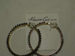 Cole New York Earrings, Gold Tone Crystal Hoop Earrings sale