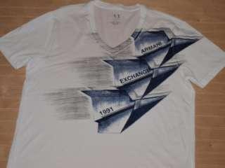 Armani Exchange Inflight V neck T Shirt White NWT