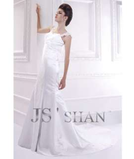 SALE White Embroidery Satin Mermaid Formal Bridal Gown Wedding Dress