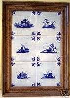 Delft Blue Holland Hand painted w Framed tiles Set of 6