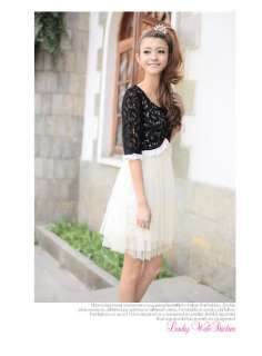 Korean Women Fake 2pcs Lace Cape Dress,9731,WHITE,Sz M, BNWT