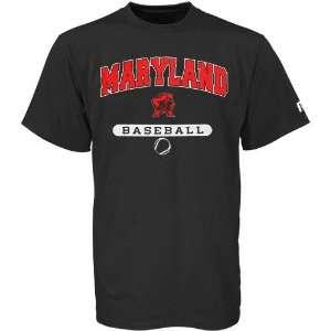 Russell Maryland Terrapins Black Baseball T shirt Sports