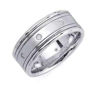 16ct 14K White Gold Polished Diamond Wedding Ring (GH, VS) Jewelry