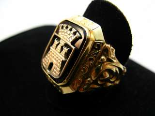 585er 14kt Gelbgold Gold Ring Herrenring Siegelring Burg Schloss