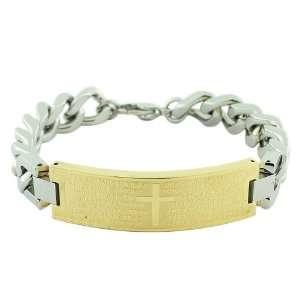 Steel Two Tone Link Chain Religious Cross Spanish Prayer Mens Bracelet
