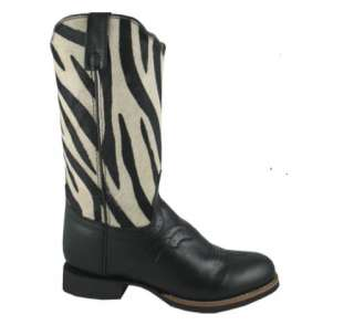 , Western, Zebra Print, Cowboy, Leather Womens, 5.5 11, Boots