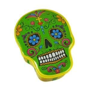 Yellow / Green Day Of The Dead Sugar Skull Trinket Box