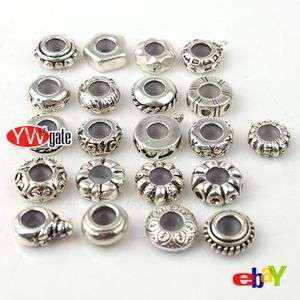 Tibetan Silver Mixed Style European Stoppers Rubber Beads Fit Charm