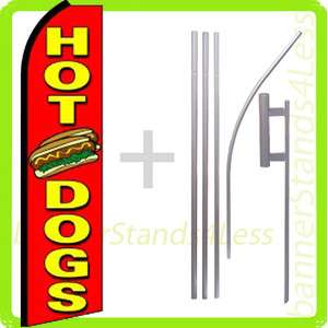 Swooper Feather Flutter Banner Sign Flag Kit  HOT DOGS rq