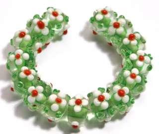 HANDMADE LAMPWORK GLASS BEADS Green White Petal Flower