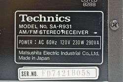 Rare Technics AM FM Stereo Receiver Tuner Amplifier Amp SA R931