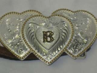 Bright Silver/Gold Triple Heart Belt Buckle B Montana Silversmith