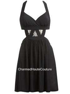 Arden B Black Cutout Rhinestone Halter Dress Size Large